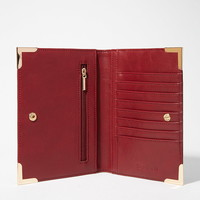 Metal-Tipped Faux Leather Wallet