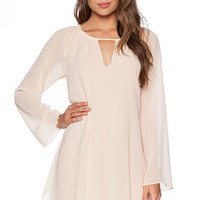 Pink Long Sleeve Cut Out Chiffon Dress