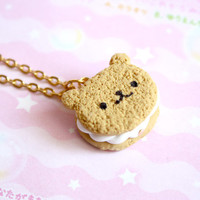 Bear Cookie Necklace Polymer Clay Miniature Jewelry