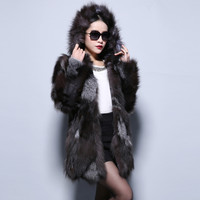 Fur Story 14199 2016 real silver fox fur coat hood warmer jacket  full sleeve overcoat with hat women out coat outerwear winter