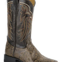 Roper Ladies Faux Exotic On Leather Sq Toe Boots Brown Stamped Faux Vamp Black Shaft Square Toe Toe