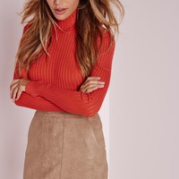 Missguided - Bonded Suede A Line Skirt Camel