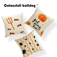 Ghost Sugar Skull Cushion Covers Halloween Cover Pillows Pumpkin Light Western Floor Holiday Gift Pillow With Cover 17X17 Linen