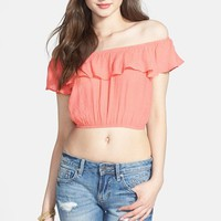 Blu Pepper Ruffle Off Shoulder Crop Top (Juniors)
