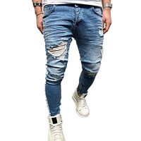 Men Printed Skinny Zipper Jeans With Holes
