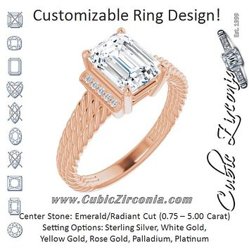 Cubic Zirconia Engagement Ring- The Junio (Customizable 11-stone Design featuring Radiant Cut Center, Vertical Round-Channel Accents & Wide Triple-Rope Band)