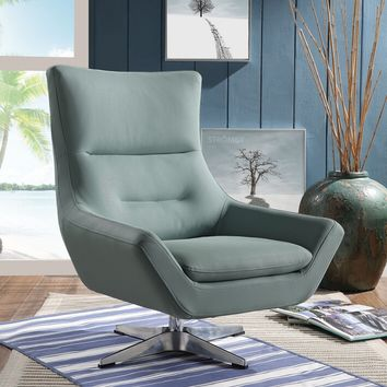 Acme 59731 Eudora gray stone leather gel mid century modern swivel accent chair