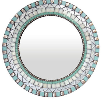 Round Wall Mirror, Aqua and Silver, Wall Decor (Ready to Ship)