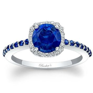 Barkev's Blue Sapphire Halo Diamond Engagement Ring