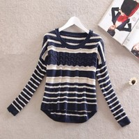 BATWING SLEEVES SWEATER Blue