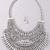 Be Exquisite - Luxe Silver Statement Necklace Set