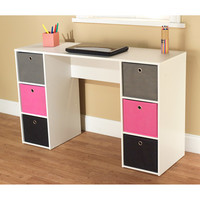 Walmart: Student Writing Desk with 6 Fabric Bins, Multiple Colors