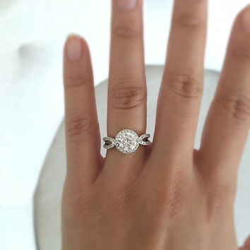 Round halo engagement ring, round diamond ring, wedding ring, promise ring, simulated diamond 2 carat center flawless art deco, vintage ring