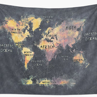 'world map 12' Wall Tapestry by JBJart