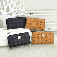 MCM explosive letter printing personality long zipper clutch