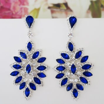 Blue Sapphire Chandelier Earrings, Large Bridal Sapphire Earrings, Blue Crystal Rhinestone