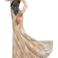 Sunvary Champagne Back Open Lace Mermaid Prom Party Dresses Long with Long Sleeves Mother of the Bride Gowns- US Size 2- Champagne