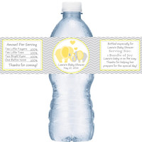 Elephant Yellow Baby Shower Personalized Water Bottle Labels