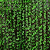 7.87ft Artificial Boston ivy Green Vine Leaf Garland Plants Fake Foliage Flowers Decoration