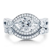 BERRICLE Sterling Silver Round Cubic Zirconia CZ Solitaire Art Deco Womens Engagement Ring Set