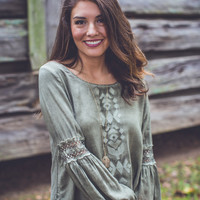 Woodlands Faux Suede Top in Olive