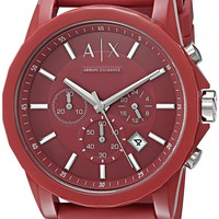 Armani Exchange Men's  Red Leather Band