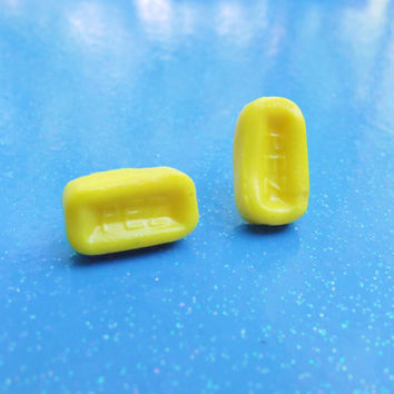 Lemon Yellow Pez Candy Stud Earrings - Inspired by Pez Candy Earrings - Polymer Clay Miniature Candy Food - Hypoallergenic Nickel Free