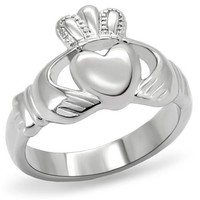 Silver Stainless Steel Heart Claddagh Ring
