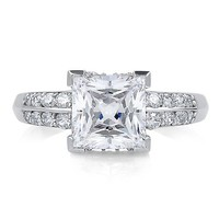 Sterling Silver Princess Cubic Zirconia Solitaire Ring w/ Side Stones #r287
