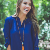 Casual Relaxed Top in Navy