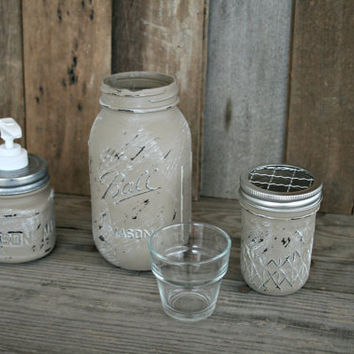Mason Jar Bath Set, including soap dispenser - Painted in Coco and Distressed - Rustic, Country, Shabby Chic, Farmhouse, Vintage Style