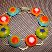 Bracelet - Turquoise - Lime Green - Orange - Retro - Flower - Fused Glass - Glass - Spring 2014 - Art - Jewelry - Made in Canada