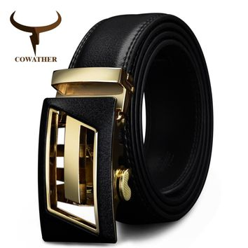 New Designer Automatic Buckle Leather Men's belt Fashion Luxury high quality