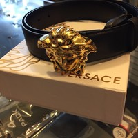 GENUINE - VERSACE - SCULPTED MEDUSA LEATHER BELT - Gold/Black (32/80)