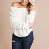 Lost Time Off The Shoulder Sweater (White)