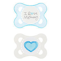 Mam Love & Affection Pacifier - BPA Free - 0 to 6 months - 2 pack - Blue - I Love Mommy