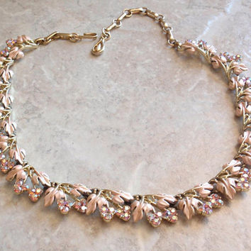 Coro Pink Necklace Floral Enamel Rhinestones Adjustable Gold Tone Wedding Bridal Vintage Estate V0402