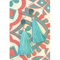 A Sure Shot Tassel Earrings: Teal