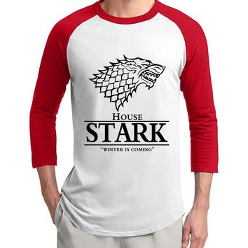 Game of Thrones House Stark Winter Is Coming 3/4 sleeve t shirts men 2017 summer cotton raglan men t-shirt loose fit top tees
