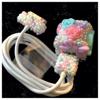 Cute Kawaii Flowers Bows Hearts CC Bling Pearl Pastel Iphone/Ipod Charger