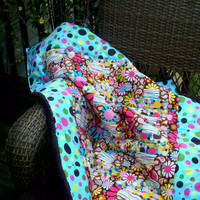 """Girls Brown Pink Turquoise"""" Polka dot Paisley flower goodness"""" baby toddler crib quilt backed with chenille and handmade by LeeLee"""