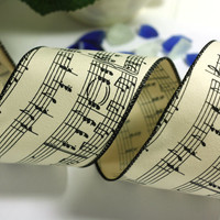 Music Note Christmas Ribbon: Biege Wire Edged Ribbon with Black Music Notes with black edge - 3 yards - 3 inch wide