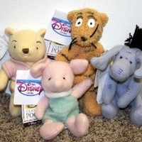Retired Disney Classic Style Winnie the Pooh Set of 4 Plush Bean Bag Dolls Including Classic Piglet, Eeyore, Tigger and Pooh Mint with Tags