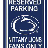 """BSI Penn State Nittany Lions College Sports Team Logo Printed Home Office Dorm Decorative 12"""""""" X 18"""""""" Reserved Plastic Parking Sign"""