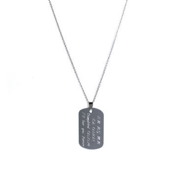 Engraved Dog Tag Necklace, Personalized Name Necklace, Custom Engraved Jewelry, Silver Dog Tag on Stainless Steel Chain, Gift For Him