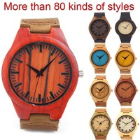 Bamboo wooden watches factory seller genuine leather straps unisex various wood quartz watch accept customization OEM