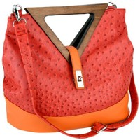 Exotic Red / Orange Ostrich Turnlock Wood Triangle Handles Shopper Tote Handbag