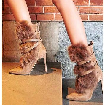 New style fur boots real rabbit plush suede women's boots