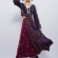 Free People Womens Amazing Technicolor Printed Trumpet Skirt