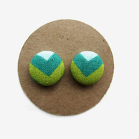 Green Chevron Earrings // Fabric Earrings // Spring Trends // Spring Chevron Print // Lime // Teal // Aqua // Nickel Free // Mothers Day //
